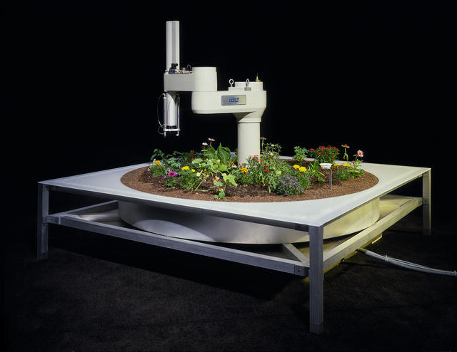 An early example of net art, the Telegarden installation invited Web users to remotely and collaboratively operate an industrial robot arm that could plant seeds, disperse water and observe its environment. It demonstrates an optimistic means for networked technologies to mediate a community's interactions with living systems.