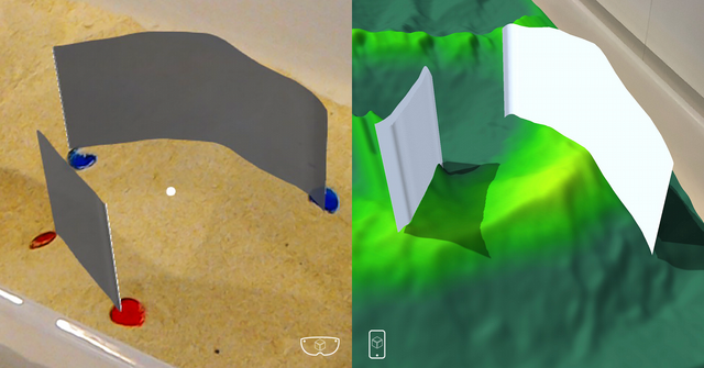 Two pairs of tokens determine each end of a section line that is then intersected with the landform model. The display of the resulting section is extruded  above the landform so that it can be more thoroughly perceived. The left-side image is  from a HoloLens display and the right-side from a smartphone display.